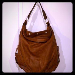 REBECCA MINKOFF Full Grain Brown Leather Hobo Bag